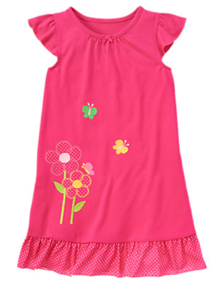 Girls Bright Pink Growing Flowers Pajama Gown by Gymboree