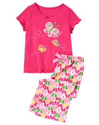 Toddler Girls Bright Pink Butterfly Heart Two-Piece Pajama Set by Gymboree