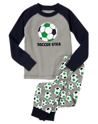Toddler Boys Heather Grey Soccer Star Two-Piece Gymmies® by Gymboree