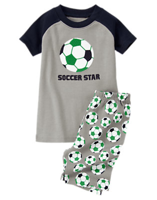 Toddler Boys Heather Grey Soccer Star Shortie Two-Piece Gymmies® by Gymboree