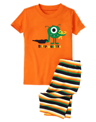 Boys Monster Orange Sleep Monster Shortie Two-Piece Gymmies® by Gymboree