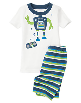 Toddler Boys White Dancing Robot Shortie Two-Piece Gymmies® by Gymboree