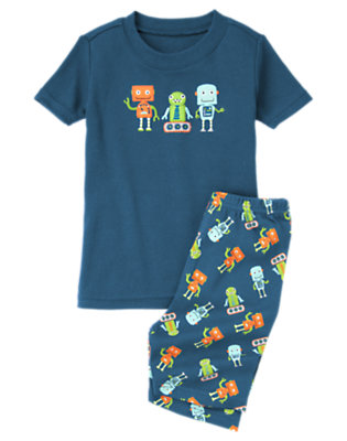 Boys Tech Blue Robot Buddies Shortie Two-Piece Gymmies® by Gymboree