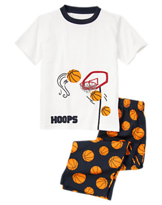 Boys White Basketball Two-Piece Pajama Set by Gymboree