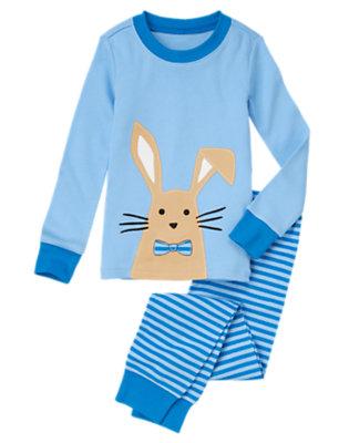 Toddler Boys Bunny Blue Bunny Stripe Two-Piece Gymmies® by Gymboree