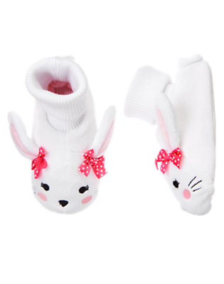 Girls White Bunny Slippers by Gymboree