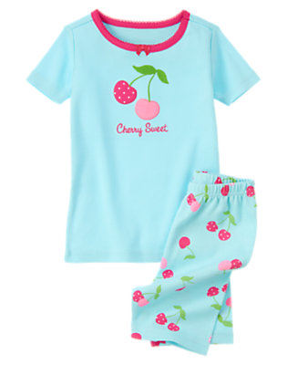 Girls Sky Blue Cherry Sweet Shortie Two-Piece Gymmies® by Gymboree