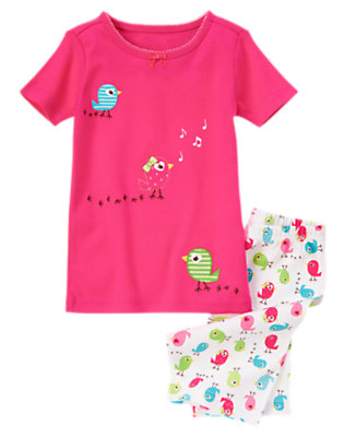 Girls Vibrant Pink Singing Birds Shortie Two-Piece Gymmies® by Gymboree