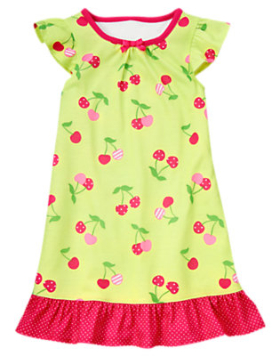 Citrus Green Cherry Pajama Gown by Gymboree