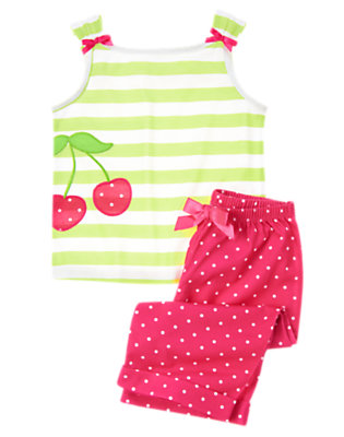 Girls Citrus Green Stripe Cherry Stripe Two-Piece Pajama Set by Gymboree