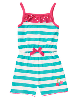 Aqua Stripe Cherry Stripe Romper Pajama by Gymboree