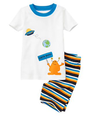 Toddler Boys Orange Earth Bound Alien Shortie Two-Piece Gymmies® by Gymboree
