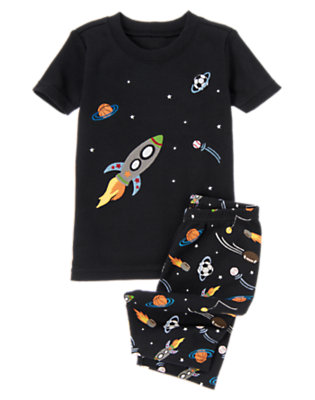 Boys Black Rocket Ship Shortie Two-Piece Gymmies® by Gymboree