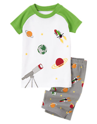 Boys Grey Telescope Shortie Two-Piece Gymmies® by Gymboree