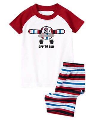 Boys Burgundy Off To Bed Shortie Two-Piece Gymmies® by Gymboree