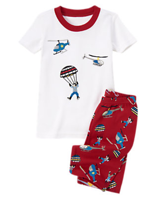 Toddler Boys Burgundy Parachute Guy Shortie Two-Piece Gymmies® by Gymboree