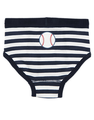 Boys Midnight Blue Stripe Baseball Stripe Brief by Gymboree