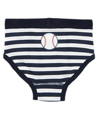 Toddler Boys Midnight Blue Stripe Baseball Stripe Brief by Gymboree