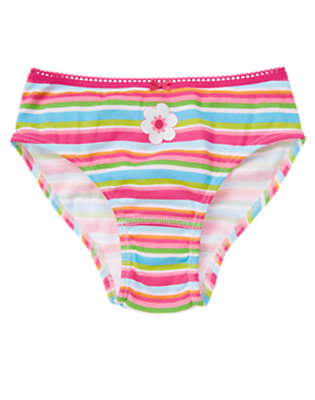Toddler Girls Sunny Pink Stripe Flower Stripe Panty by Gymboree