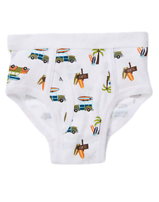 Boys White Beach Scene Brief by Gymboree