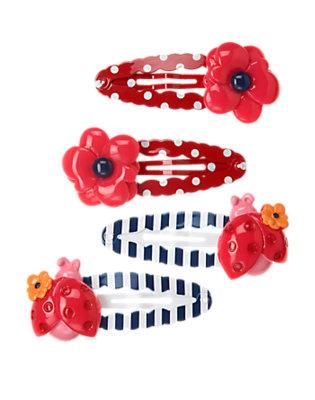 Girls Poppy Pink Ladybug Poppy Snap Clip Four-Pack by Gymboree