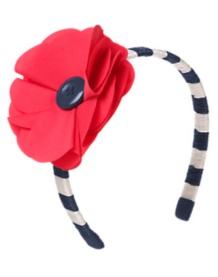 Nautical Navy Stripe Button Poppy Stripe Headband by Gymboree