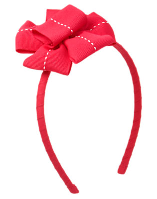 Girls Poppy Pink Pickstitched Bow Headband by Gymboree