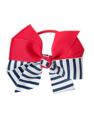 Girls Poppy Pink Stripe Bow Pony Holder by Gymboree