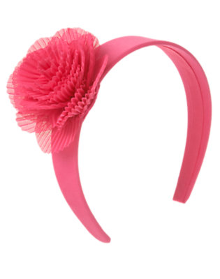 Girls Flamingo Pink Pleated Flower Headband by Gymboree