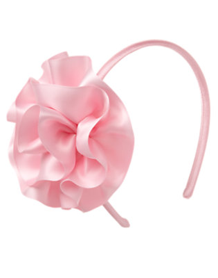 Girls Soft Pink Satin Rosette Headband by Gymboree