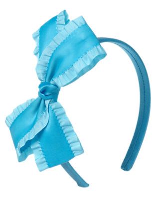 Girls Spring Blue Ruffle Bow Headband by Gymboree