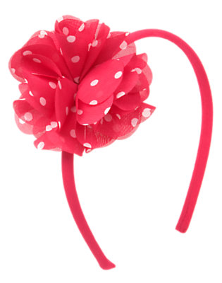 Girls Poppy Pink Dot Dot Rosette Headband by Gymboree