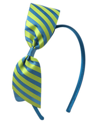 Girls Seahorse Blue Stripe Stripe Bow Headband by Gymboree