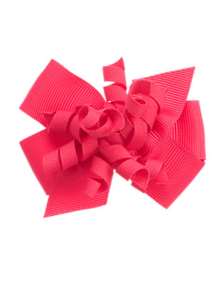 Toddler Girls Poppy Pink Curly Bow Hair Clip by Gymboree