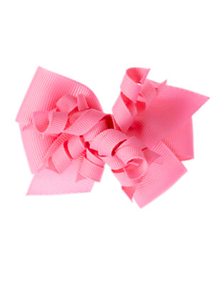 Soft Pink Curly Bow Hair Clip by Gymboree