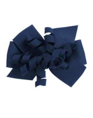 Toddler Girls Nautical Navy Curly Bow Hair Clip by Gymboree