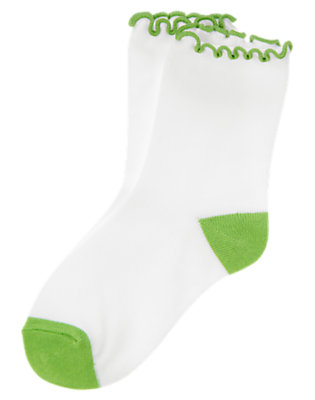 Girls Spring Green Lettuce-Edge Ruffle Sock by Gymboree