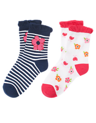 Girls Nautical Navy Stripe Poppy Stripe Sock Two-Pack by Gymboree