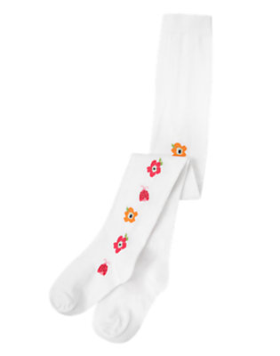 Girls White Poppy Ladybug Tight by Gymboree