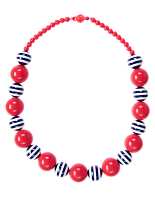 Girls Poppy Pink Stripe Bead Necklace by Gymboree