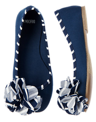 Nautical Navy Stripe Rosette Ballet Flat by Gymboree