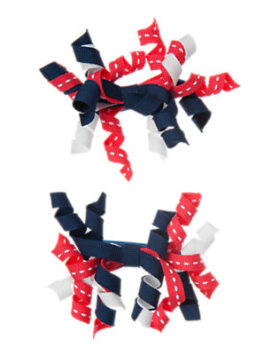 Toddler Girls Nautical Navy Pickstitched Curly Hair Clip Two-Pack by Gymboree