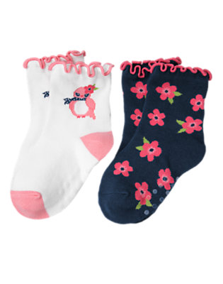 Toddler Girls White Bird Poppy Sock Two-Pack by Gymboree