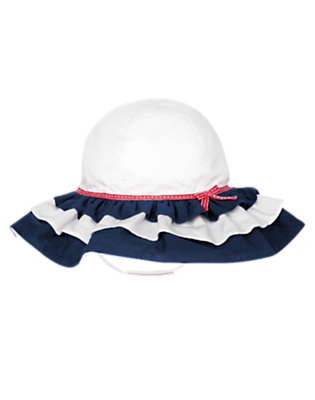 Toddler Girls White Bow Ruffle Sunhat by Gymboree