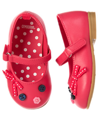 Toddler Girls Poppy Pink Button Bow Ballet Flat by Gymboree