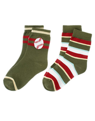 Boys Olive Green Baseball Stripe Sock Two-Pack by Gymboree