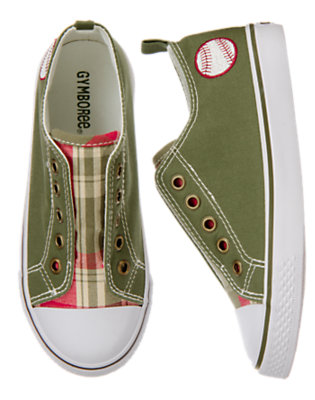 Boys Olive Green Baseball Plaid Laceless Sneaker by Gymboree