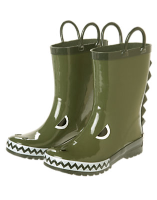 Boys Olive Green Dino Rainboot by Gymboree
