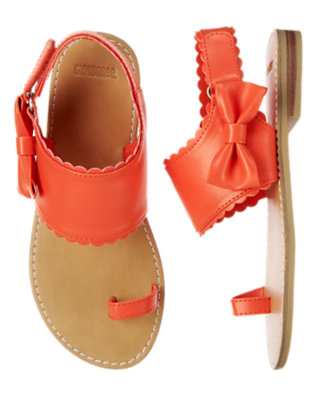 Girls Bright Orange Spice Bow Scalloped Sandal by Gymboree