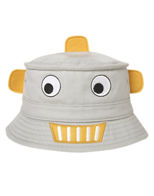 Misty Grey Robot Bucket Hat by Gymboree